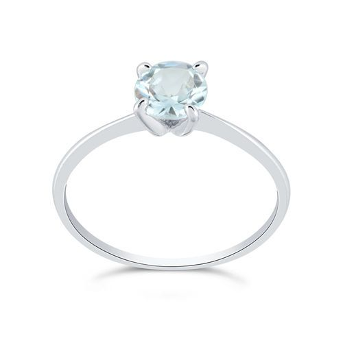 Sterling Silver Round 1 ct Aquamarine Solitaire Ring #LAMOZEL #Solitaire