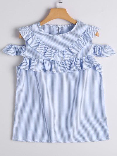 SHARE & Get it FREE   Cold Shoulder Ruffle Hem Striped Blouse - Blue Stripe LFor Fashion Lovers only:80,000+ Items • New Arrivals Daily Join Zaful: Get YOUR $50 NOW!