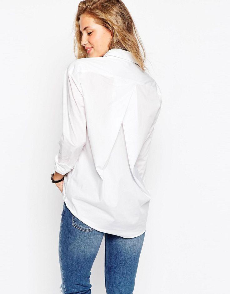 Image 1 ofASOS Slim Boyfriend White Shirt with Pleat Detail Back $41