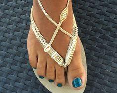 Bohemian Sandals Foot Jewelry Women Flip Flops by TribesBySaraK