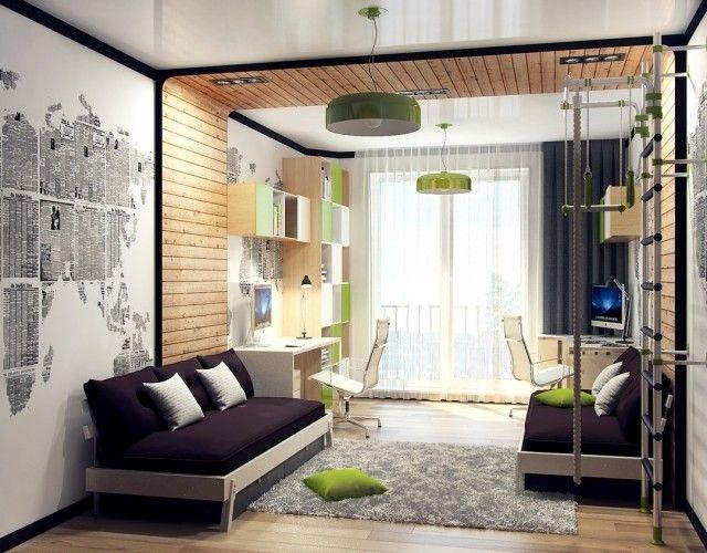 Jugendzimmer Gestaltung Ideen Paneele Holz Kletterwand