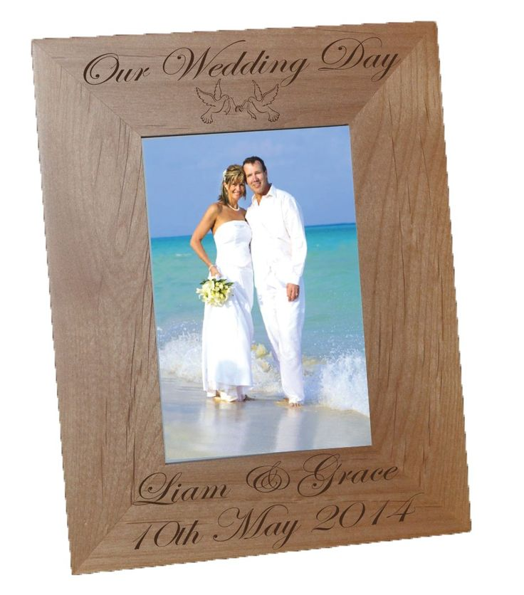 """Alder Wood Picture Frame 4x6"""" Can be Personalised with Text and Design for any occasion. Also available in other size. Can be Portrait or Landscape."""