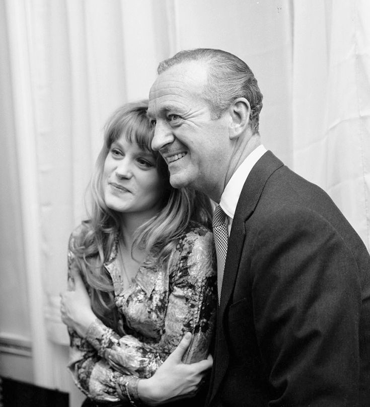 Françoise Dorléac and David Niven, 1965 - Françoise Dorléac (21 March 1942 – 26 June 1967) was a French actress. She was the daughter of screen actor Maurice Dorléac and Renée Simonot, and the elder sister of Catherine Deneuve. | James David Graham Niven (1 March 1910 – 29 July 1983) was an English actor and novelist.