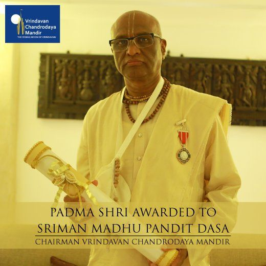 His Grace @madhupanditdasa, Chairman VCM received the Padma Shri Award from the President of India today.