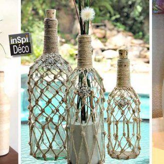 Relooker une bouteille en verre avec de la ficelle! 20 idées + Tutoriel…