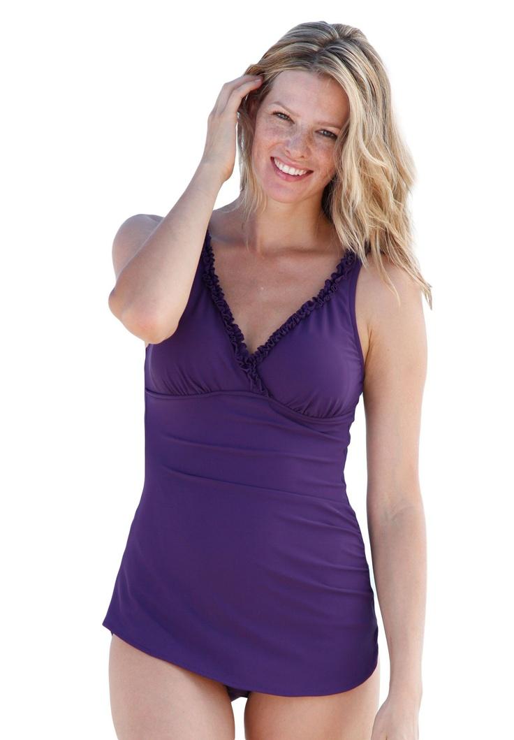 Ruffle trim sarong swimsuit by Swim 365®