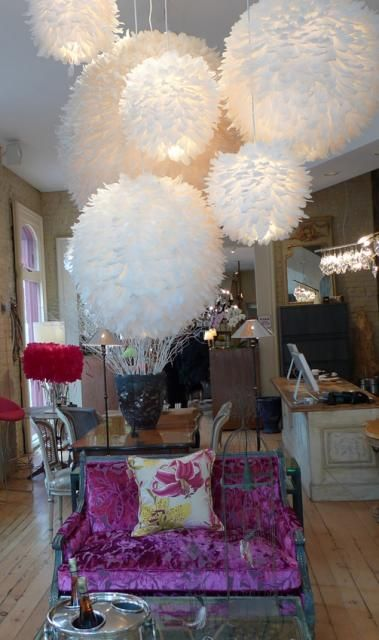French Feather-Ball-Chandeliers ... very specific and not for every room, BUT that being said, I love them.