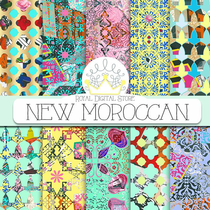 "Moroccan digital paper: "" NEW MOROCCAN"" with colorful moroccan pattern, damask, mosaic for planners, scrapbooking, cards, invitations #moroccan #damask #digitalpaper #partysupplies #yellow #mint #blue #planner #scrapbookpaper #gold"