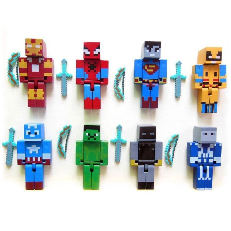 """MINI ACTION FIGURE PIXELATED SUPERHERO. 8 ACTION FIGURES EACH WITH TWO WEAPONS (16 WEAPONS). ARMS, LEGS, HEAD, AND WAIST ARE MOVEABLE. BOXED SUPERHERO ACTION FIGURES MATCH THE SIZE OF THE STAR GALAXY WARRIORS AND PAW PATROL MINI ACTION FIGURES. THESE ARE 2.76"""" (7cm) (SLIGHTLY LARGER THAN LEGO GUYS 1.57""""/4cm). NOT OFFICIALLY LICENSED."""
