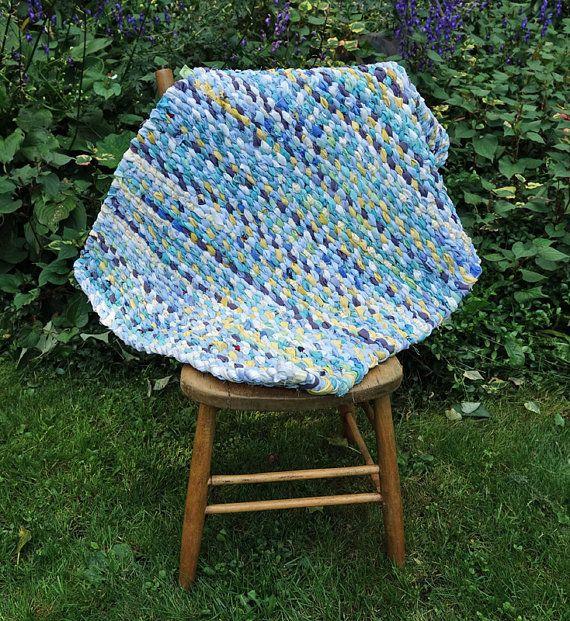 Turquoise Rag Rug  Rag Rug Weaving  Handmade Shabby by The1608shop