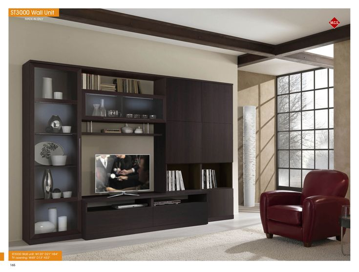 Italian Wall Unit In Wenge Finish