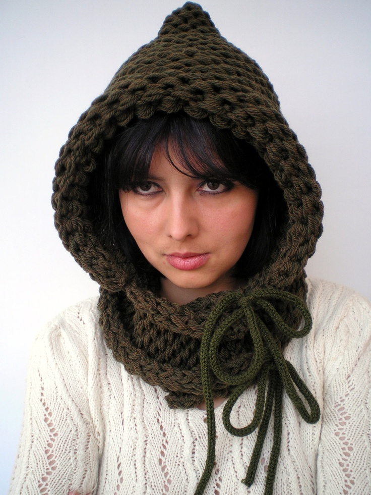 Spirit Hood Knitting Pattern : Double Spirit Knit Hood Super soft Mixed wool Woman Hooded ...