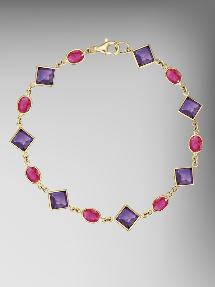 18kt Gold Amethyst and Ruby Florentine Chain Bracelet (14 stones)
