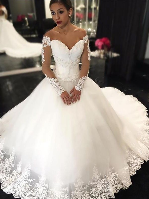 99524c03570bc Ball Gown Applique Sleeveless Tulle Off-the-Shoulder Court Train Wedding  Dresses