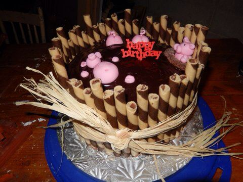 Pigs in mud chocolate cake with raspberry and mock cream filling. Topped with chocolate ganache and fondant pigs.