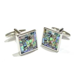 Coloured Mother of Pearl Cufflinks - I suspect this is Paua Shell, which our international suppliers refer to as Mother of Pearl. Hard to confirm as they don't know what I'm talking about.  As every shell is unique, the patterns and colouring on these cufflinks are all different.