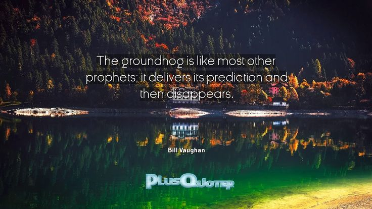 """""""The groundhog is like most other prophets; it delivers its prediction and then disappears.""""- Bill Vaughan. Bill Vaughan � biography: Author Profession: Journalist Nationality: American Born: October 8, 1915 Died: February 25, 1977 Wikipedia : About Bill Vaughan Amazone : Bill Vaughan  #Disappears #Like #Most #Other #Prediction #Prophets #Then"""