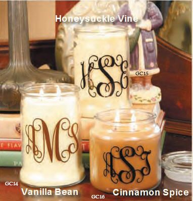 Cute monogram candle. I would want the smaller jar, maybe an aqua colored candle with a white or black monogram.