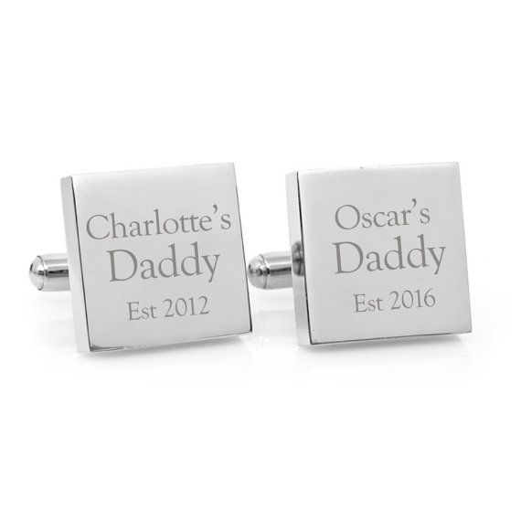 My Daddy - Personalised cufflinks for Dad  Give Dad something to treasure forever with these unique, personalized cufflinks celebrating the birth of his children. Each cufflink is 20mm (3/4) in diameter and crafted from high quality 316L stainless steel. The design is professionally