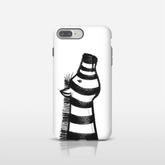 Black and white zebra art phone case, Illustration art, Smartphone Case, Animal lover gift, iPhone cases, Cute phone case, Google. MS015