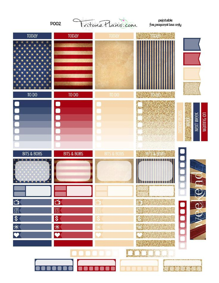 Free Independence Day themed printable stickers for your planner (sized for Erin Condren Vertical Life Planner) You can print the .pdf on sticker paper and cut these stickers out by hand – OR – you can use the attached blackout file to create cut lines and cut these …