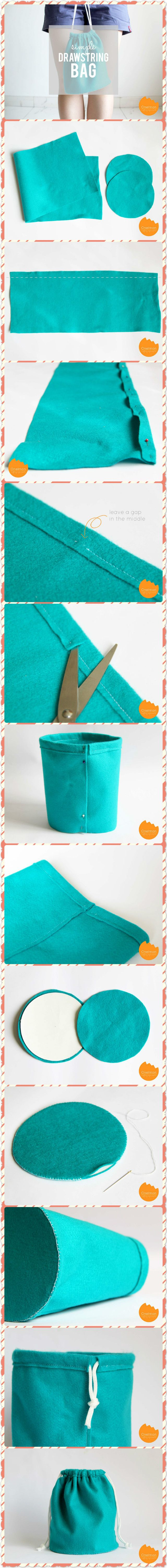 Simply Sewn Drawstring Bag with One. #craft ideas #DIY Click www.welikecraft.com for more craft ideas!