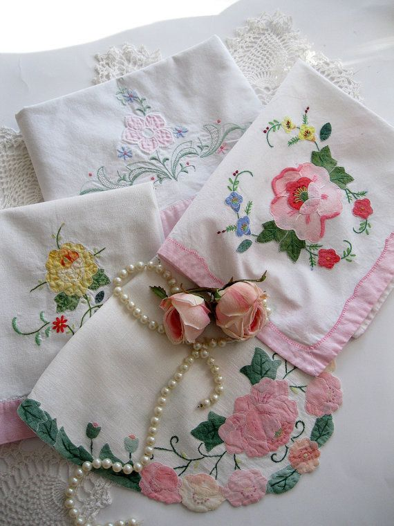 Vintage Linens, Bulk Set, Pink, Shabby Chic, Pillowcase, Linens, Shabby Cottage, French Country    Instant cottage charm, and cheeriness with