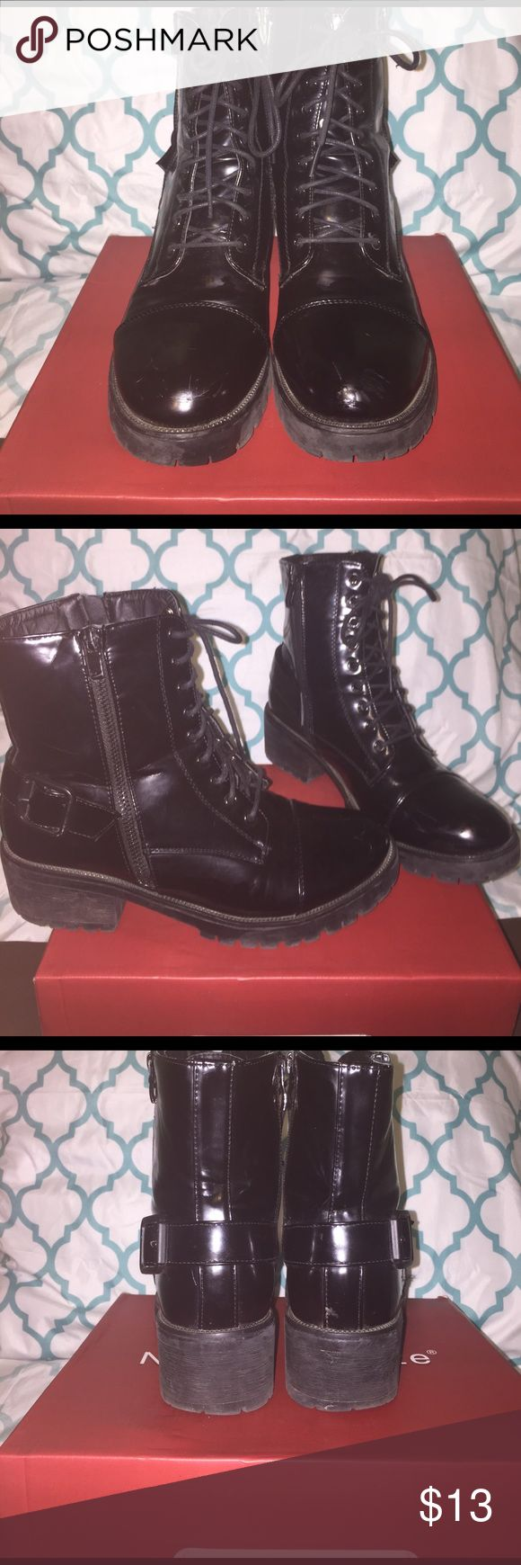 Black glossy combat boots Law enforcer 01 , black pumps, size 8.5, has sign of wear, no major scuffs or scrapes. Glossy black with buckle and a zipper for decoration. Nature Breeze Shoes Combat & Moto Boots