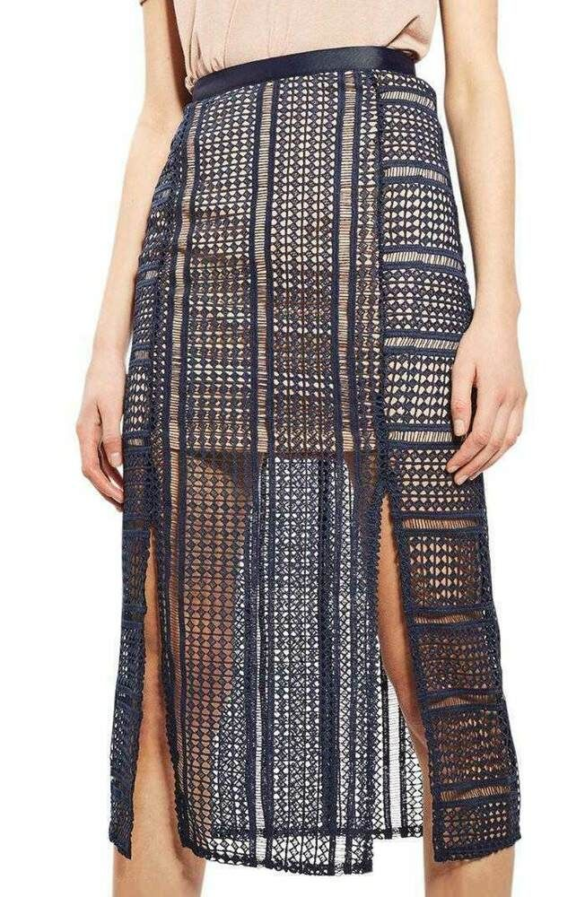 e276e09b82 Navy blue lace midi skirt geometric slit crochet R837 topshop 8 10 BNWT 60 # fashion