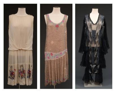 Jeanne LANVIN (attribué à)  Ensemble de 3 robes perlées et brodées (manque griffes). Provenance: collection Misia Sert