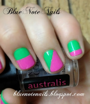 Pink and Green nail art designs