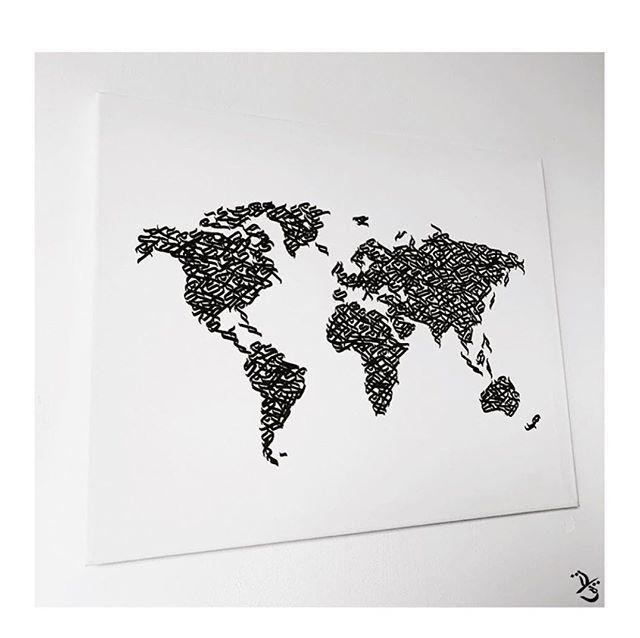 La Carte Du Monde Facon Calligraffiti Arabe Si Ca Ca Claque Pas