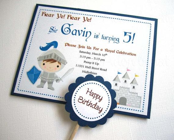 Knight Birthday Party Invitations  Set of 8 by adorebynat on Etsy, $14.75