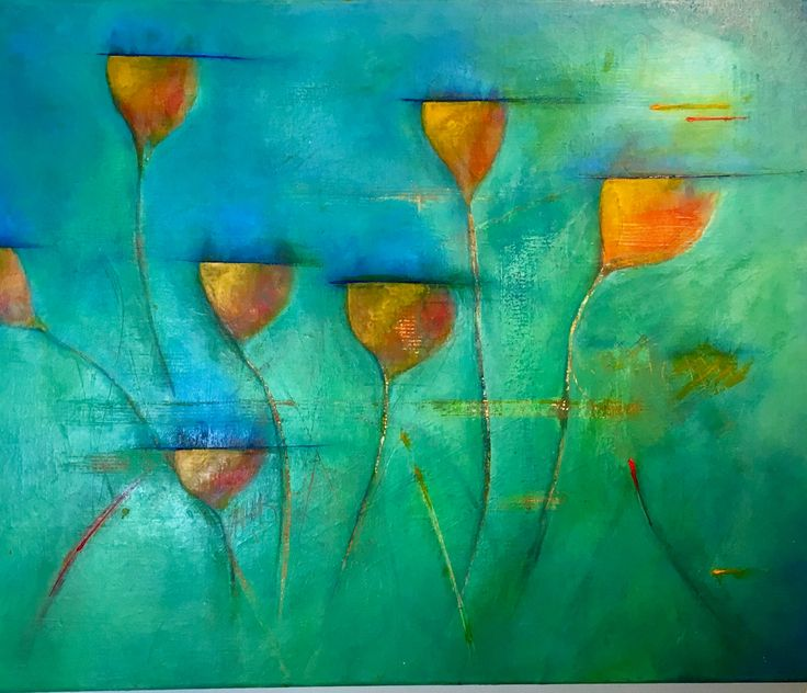 Painting mixed media  Spring is in the air 60 x 50 cm.