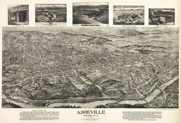 Old Map of Asheville North Carolina 1912 Buncombe County Poster