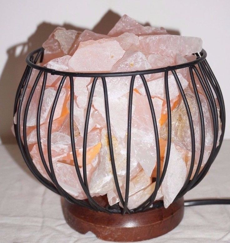 Rose quartz lamp Crystal Cage Health Natural Therapeutic cleanse gemstone Love