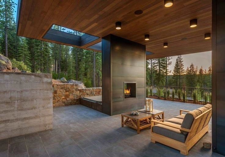 Hot tub, fireplace, mountain home - 8160 Villandry Drive, Truckee, Calif.  $6.8M Sprawl Combines Mountain Living and Modernism - House of the Day - Curbed National