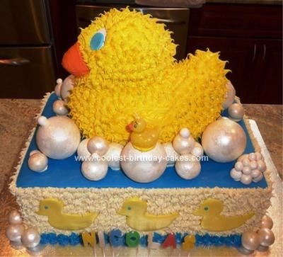 Homemade Rubber Ducky Birthday Cake: My wife wanted a Rubber Ducky theme for our son's first birthday. She told me that she had looked at all the Rubber Ducky Birthday Cakes in the stores
