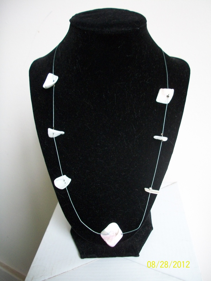 Single strand wire necklace with suspended purple shells - $15