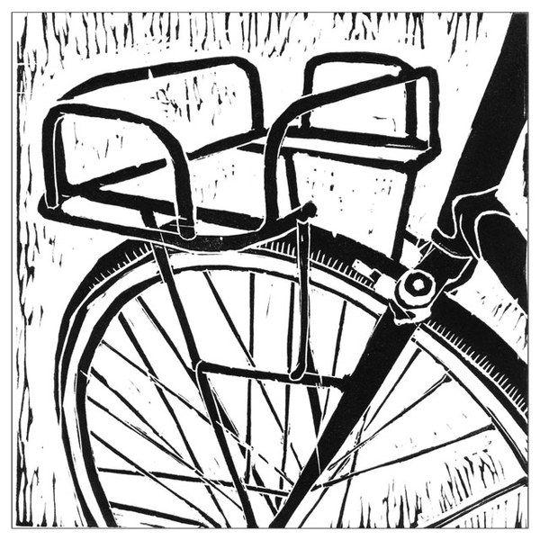 Lino Printing by Laura Sawers, via Behance - bicycle series