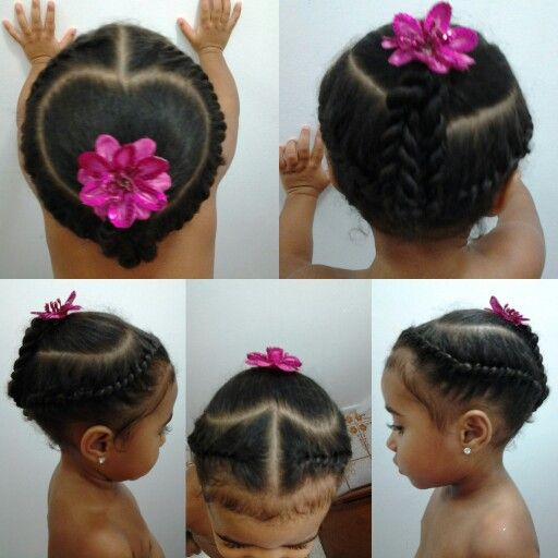 Mixed girls hairstyles. Flat twist into a heart