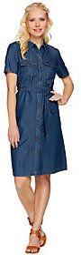 As Is Denim & Co. Short Sleeve Denim Shirt Dress