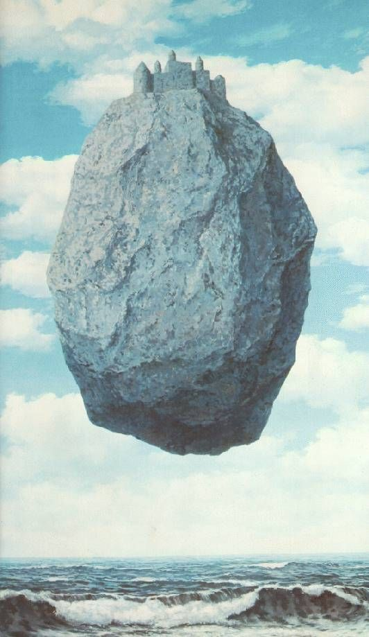 Rene Magritte- Surrealist artist of the 20th century. The Castle of the Pyrenees by my favorite artist, Rene Magritte. The Son of Man is much more famous, but this is my favorite. I have always had a strong physical reaction to it - strangely dizzying.