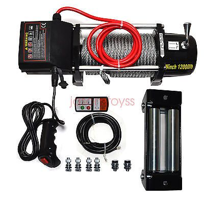 12V Electric 12000lb Recovery Waterproof Winch Kit Steel Cable & Remote New