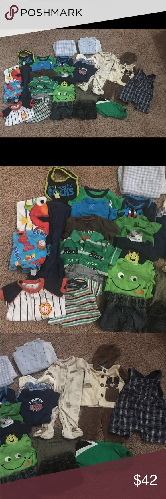 Great Deal!! 39 Piece Clothing Lot 0-6M! Infant boys clothing lot! Great condition! 5 3M onesies 2 3-6M onesies 3 bibs includes 2 elmo bibs!! 2 burp cloths 1 fao Schwarz overalls 0-3M 1 NB jean shorts 1 NB pants 1 3M jean shorts 4 3M tops 1 3-6M zip up hoodie 1 3-6M pants 1 0-3 month fleece onesie 3 0-3M onesies 1 3-6 months fleece shirt and pants set Size 0 flip flops Infant 6m swim trunks 8 hats 0-6 m / 1 infant hand protectors Brands include: carters, child of mine, gerber, Fao schwarz…