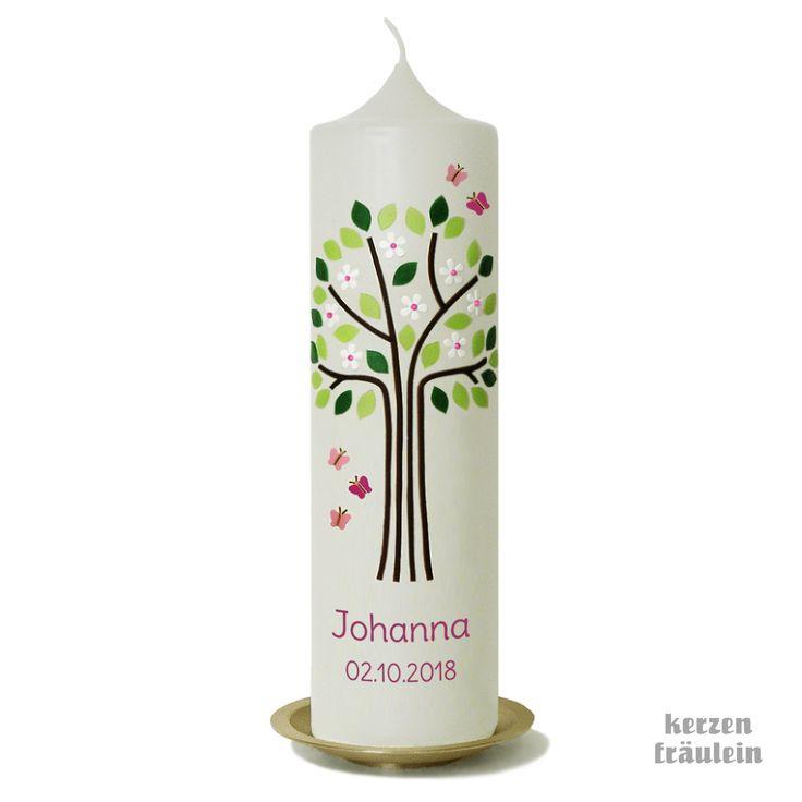 Taufkerze Lebensbaum Apfelblute Mit Schmetterlingen Rosa Kerzenfraulein Taufkerze Lebensbaum Taufkerze Kerzen