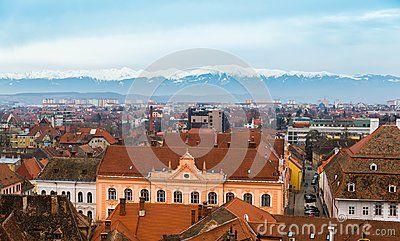 Aerial view of Sibiu in Transylvania, Romania and the Carpathian mountains