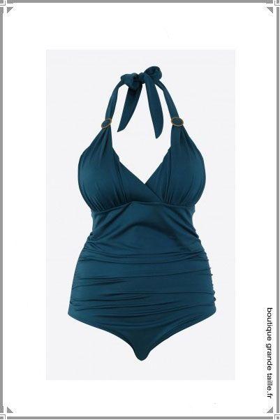 maillot de bain une pi ce femme bleu canard un joli drap sur une forme dos nu en grande taille. Black Bedroom Furniture Sets. Home Design Ideas