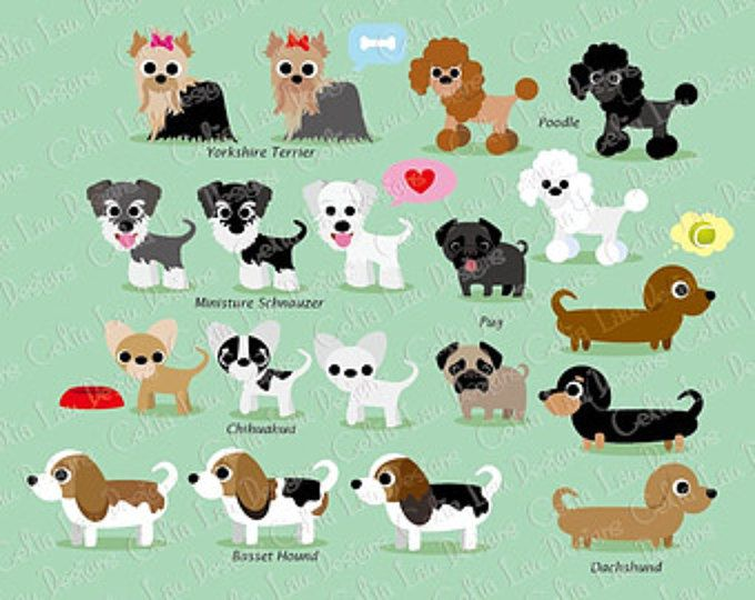 Hund Clipart, Clipart Welpen, süße Hunde ClipArt, Welpe Clipart, (A011) für persönlichen und kommerziellen Gebrauch / INSTANT DOWNLOAD
