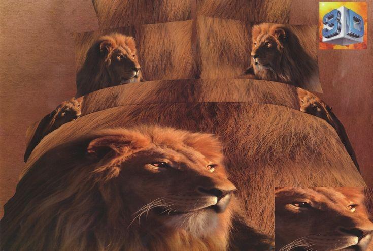 Modna brązowa pościel 3D do pokoju z lwem